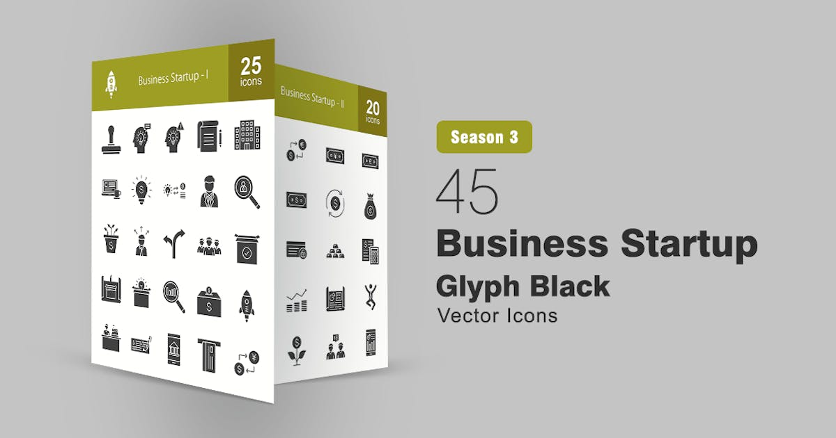 Download 45 Business Startup Glyph Icons by IconBunny