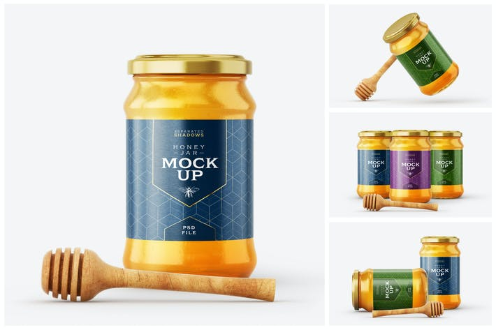 Honey Jar Mockup Set With Dipper