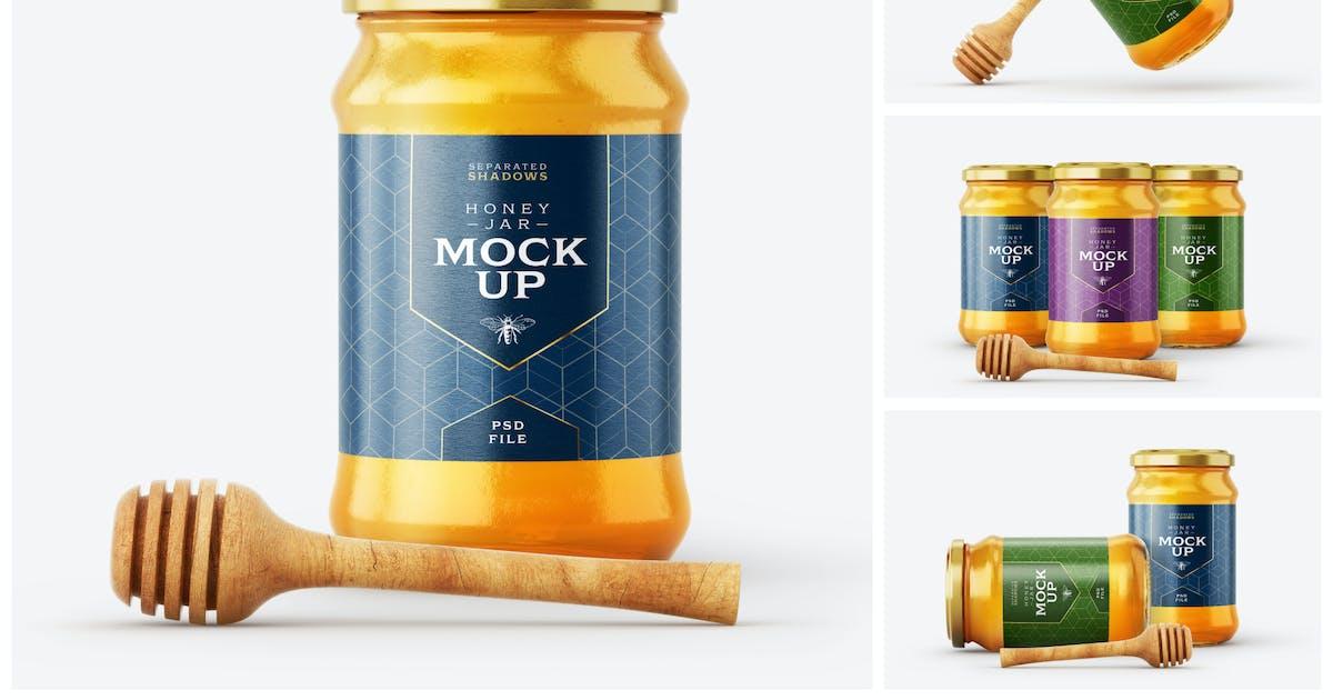 Download Honey Jar Mockup Set With Dipper by deeplabstudio