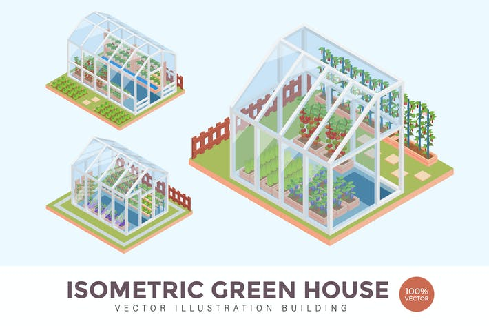 Thumbnail for Isometric Green House Vector Building Illustration