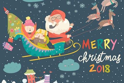 Papá Noel y los Niños con el trineo de renos. Vector