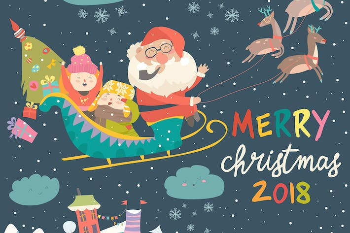 Thumbnail for Santa Claus and kids with Reindeer Sleigh. Vector