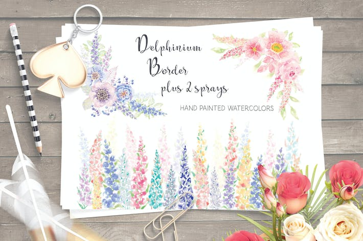 Thumbnail for Watercolor Border of Delphinium Blooms