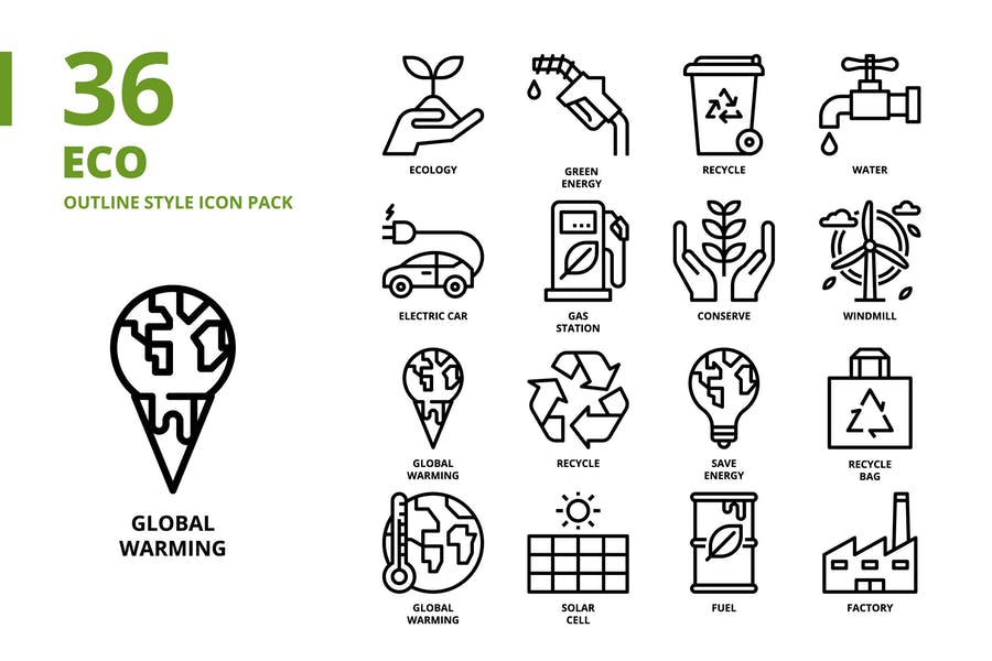 Ökologie Umriss-Stil Icon Set