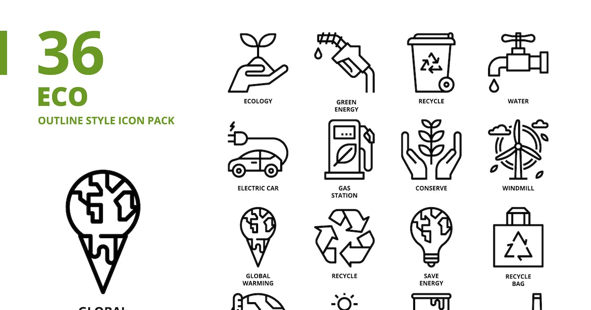 Download Ecology Outline Style Icon Set by monkik