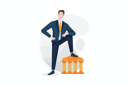 Happy businessman putting a leg on the bank symbol