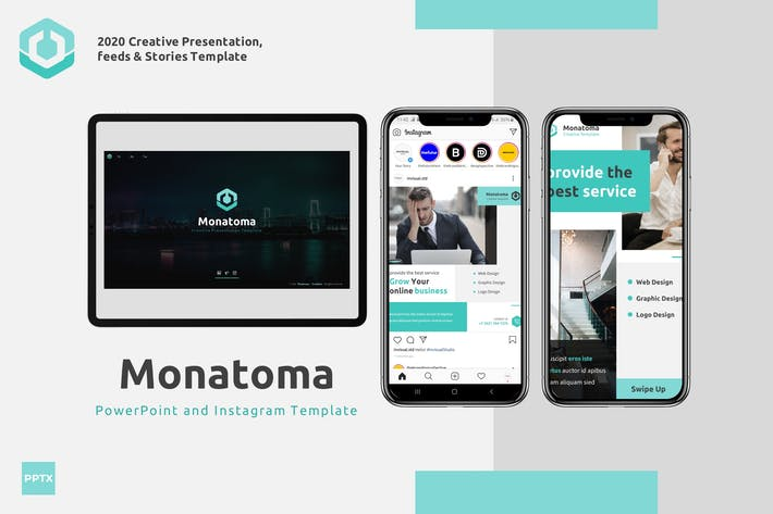 Thumbnail for Монатома - Powerpoint & Instagram Шаблон