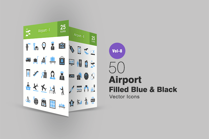 Thumbnail for 50 Airport Blue & Black Icons