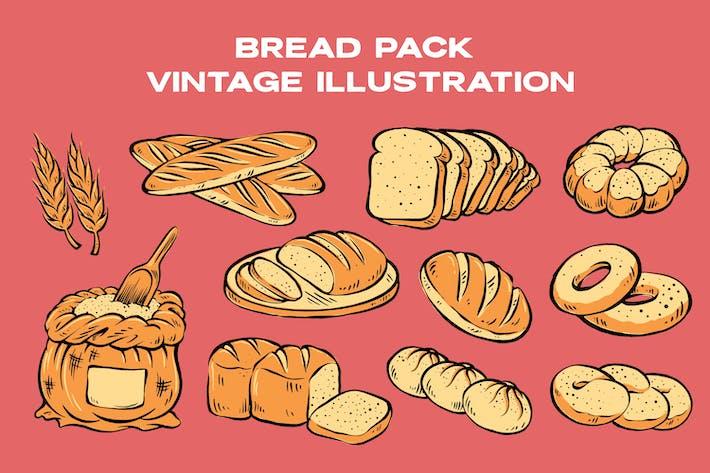 Brotpackung Vintage Illustration