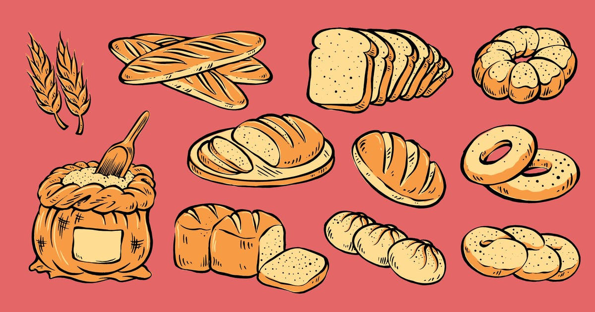 Download Bread Pack Vintage Illustration by MartypeCo