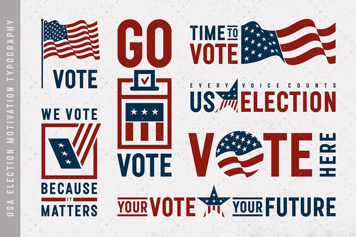 Thumbnail for USA Election Motivation Typography And Logos Set