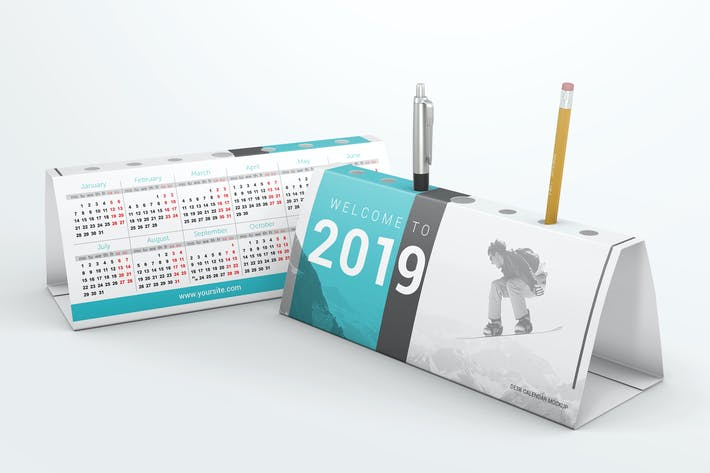 Thumbnail for Desk Calendar Pen Holder Mockup