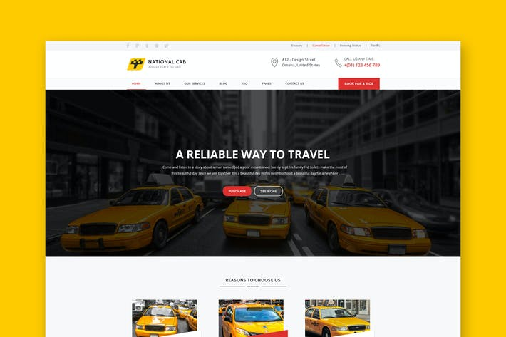 Thumbnail for TaxiCab - Taxi Company PSD Template