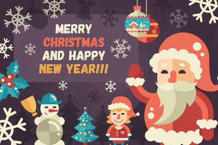 Thumbnail for Merry Christmas, Happy New Year Greeting Card