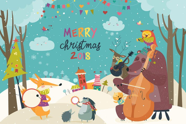 Thumbnail for Vector Merry christmas card with animals and music