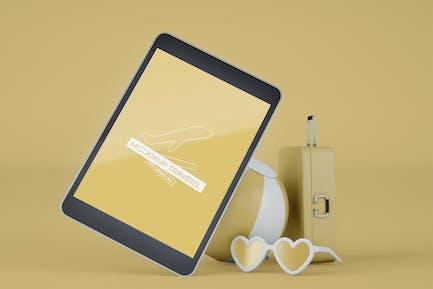 Tablet mit Reiseobjekt-Mockup