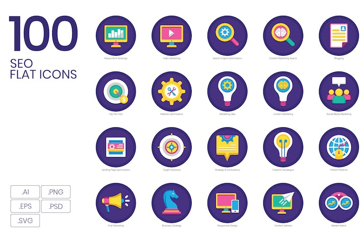 Thumbnail for 100 SEO Flat Icons
