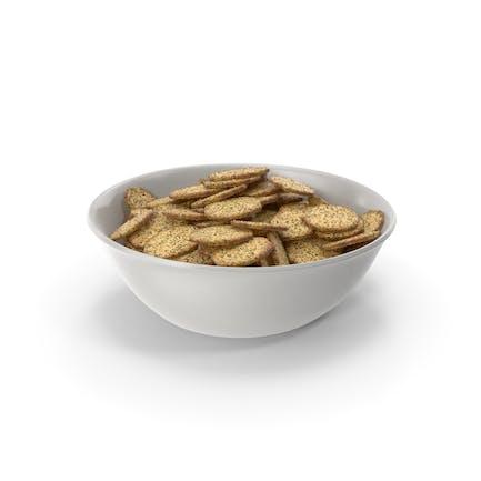 Cuenco con galletas octágonas con condimento