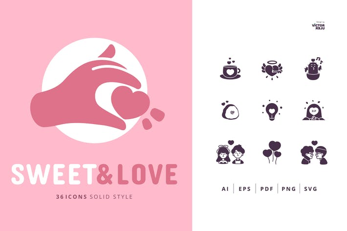 Thumbnail for 36 Sweet&Love Icons Solid Style