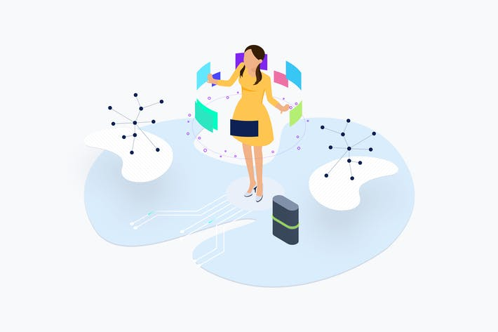 Thumbnail for Blockchain Platform AR Lab Isometric Illustration