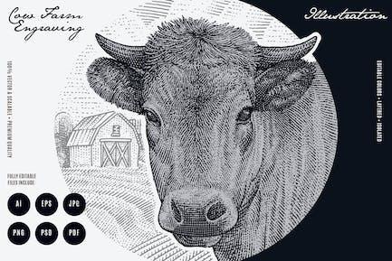 Gravur Kuhfarm Illustration