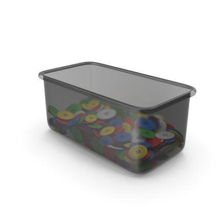 Plastikbehälter mit Stoffknöpfen