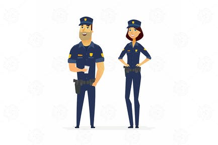 Police officers - cartoon people characters