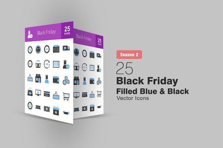 Thumbnail for 25 Black Friday Filled Blue & Black Icons