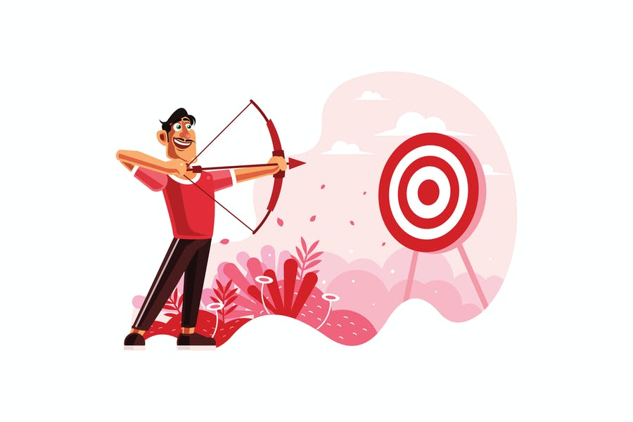 Archer aiming at a target