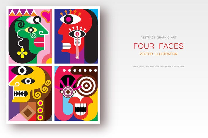 Thumbnail for Four Faces abstract art vector illustration