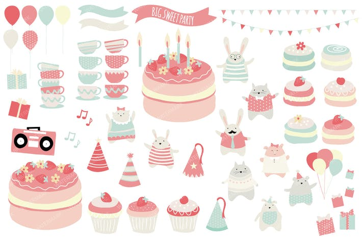Thumbnail for Big Sweet Party Illustration Collection