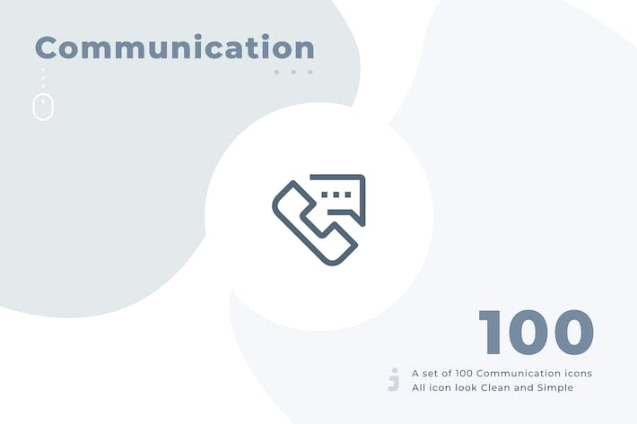 Thumbnail for 100 Communication icon set - Material