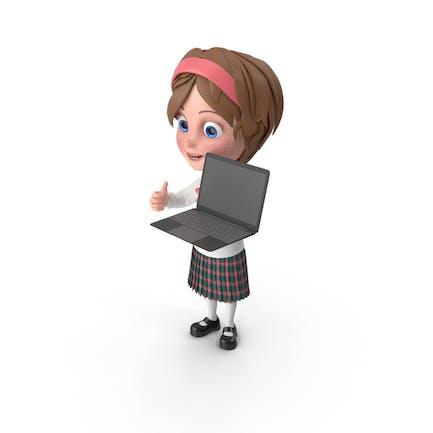 Chica Dibujos animados sosteniendo Ordenador portátil