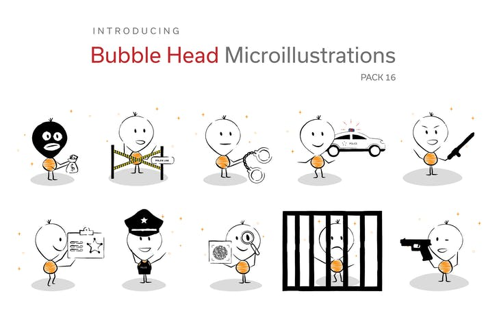 Thumbnail for Bubble Head Micro Illustrations -  Police