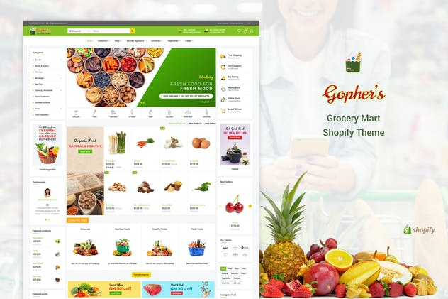Gopher's | Grocery, Shopping  Shopify Theme