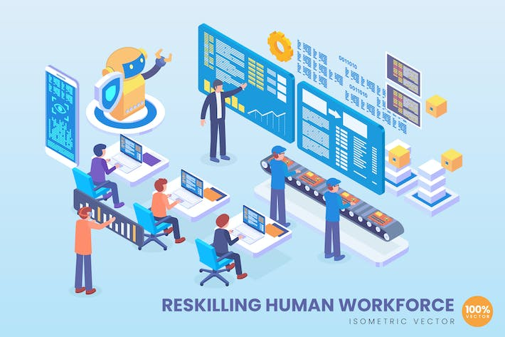 Thumbnail for Isometric Reskiling Human Workforce Vector