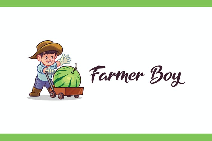 Thumbnail for Farmer Boy Mascot Logo