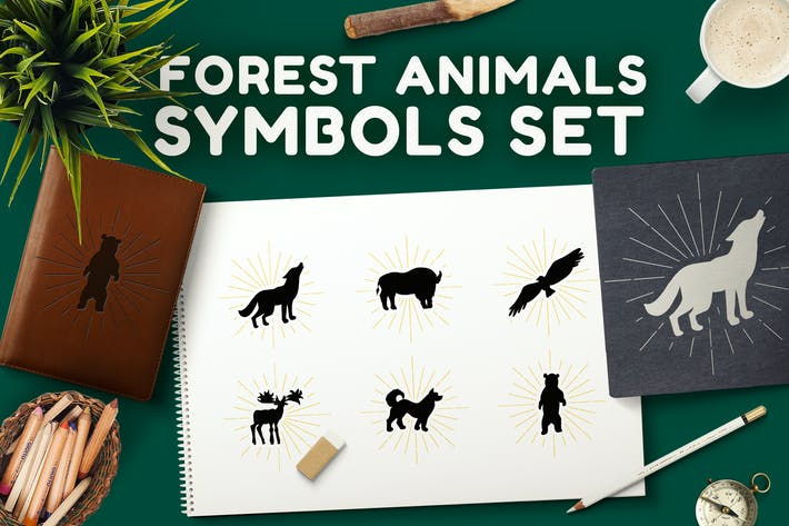 Thumbnail for Forest Animals Symbols Set