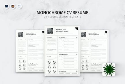 Monochrome CV Resume