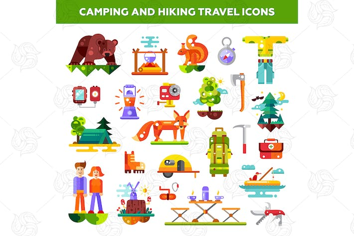 Camping and hiking travel icons