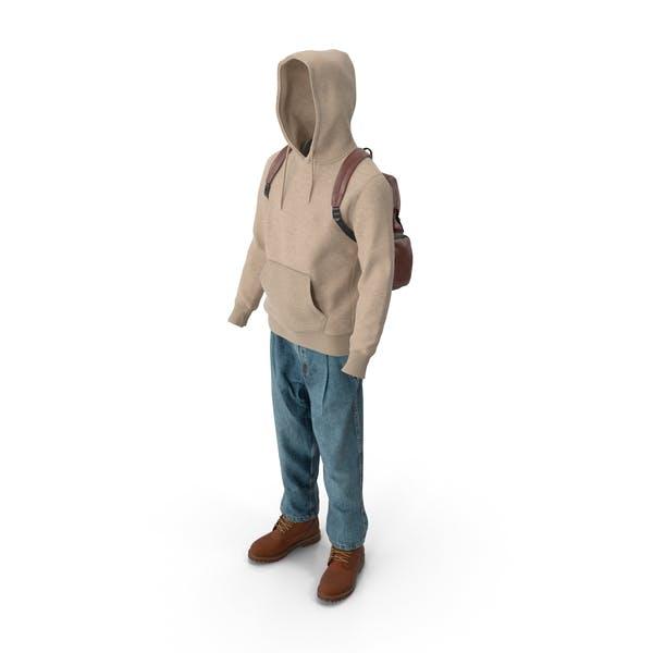Мужские сапоги Джинсы Футболка с капюшоном Hat Рюкзак Бежевый Коричневый