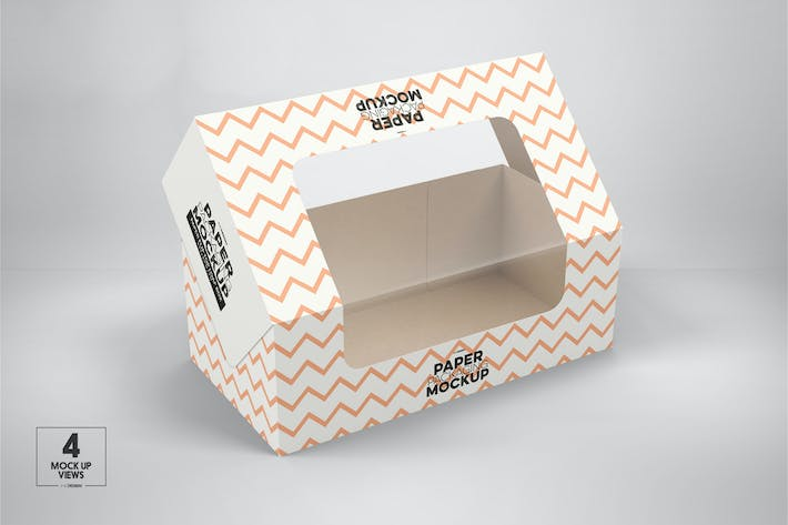 Paper Flip Top Loaf Box with Window Packaging Mock