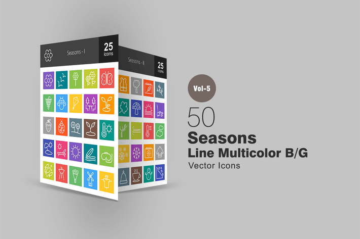 Thumbnail for 50 Seasons Line Multicolor Icons