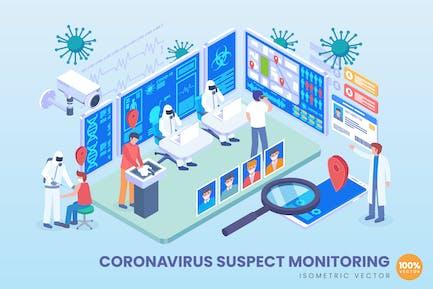 Isometric Coronavirus Suspect Monitoring Vector