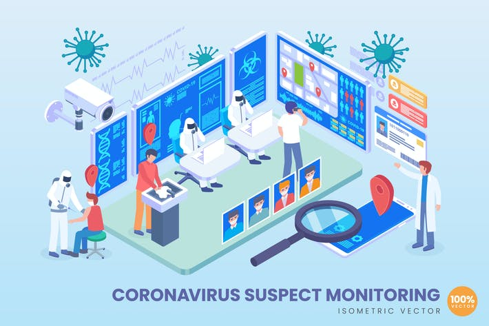 Thumbnail for Isometric Coronavirus Suspect Monitoring Vector