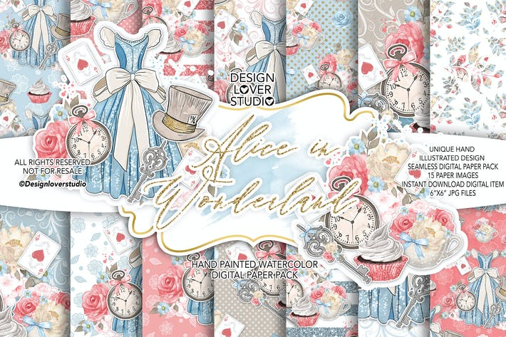 Thumbnail for Alice in Wonderland digital paper pack