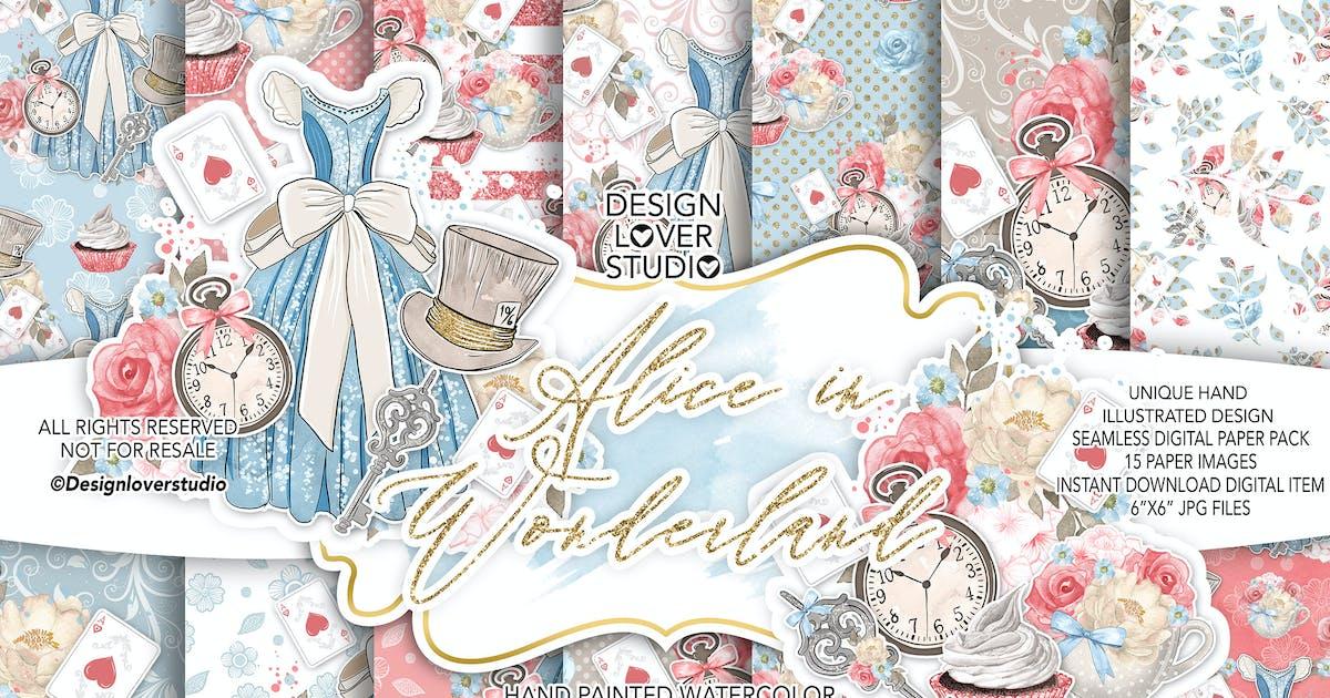 Download Alice in Wonderland digital paper pack by designloverstudio