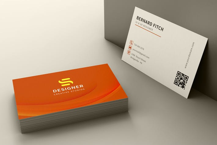 Thumbnail for Orange business card template