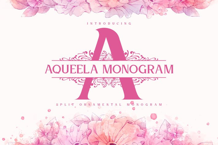 Thumbnail for Aqueela Split Monogram Font