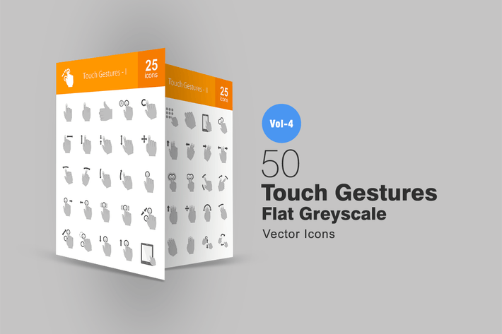 Thumbnail for 50 Touch Gestures Greyscale Icons